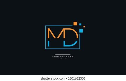 MD Letter Business Logo Design Alphabet Icon Vector Symbol