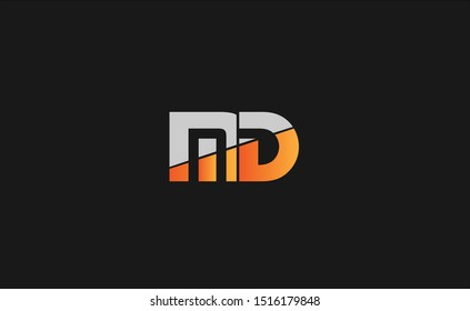 MD Letter Logo Design with Creative Modern Trendy Typography