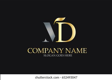MD Letter Logo Design in Golden and Metal Color