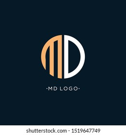 MD Letter Logo Design make from circle and with Sans Serif Font Vector Illustration. - Vector