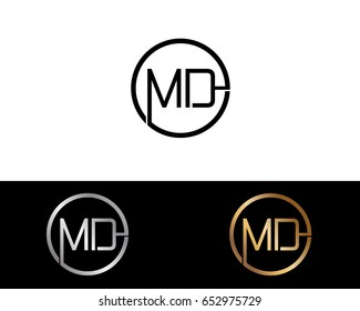 Md Logo. Letter Design Vector with Black Gold Silver Colors