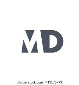 MD Logo. Vector Graphic Branding Letter Element. White Background