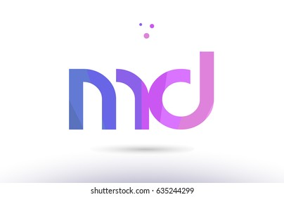 md m d alphabet letter purple pink magenta blue colorful creative colors text dots creative company logo vector icon design template