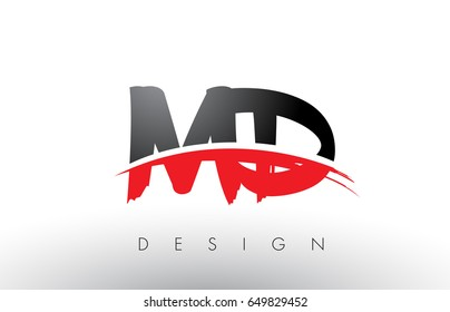 MD M D Brush Logo Letters Design with Red and Black Colors and Brush Letter Concept.
