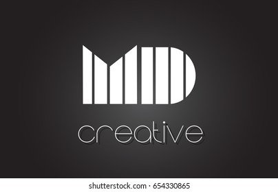 MD M D Creative Letter Logo Design With White and Black Lines.