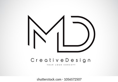 MD M D Letter Logo Design in Black Colors. Creative Modern Letters Vector Icon Logo Illustration.