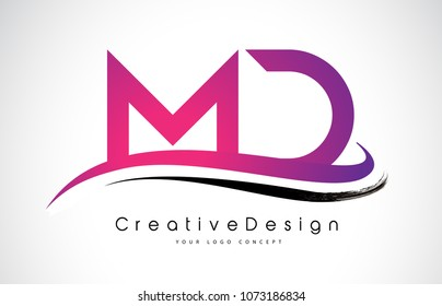 MD M D Letter Logo Design in Black Colors. Creative Modern Letters Vector Icon Logo Illustration.