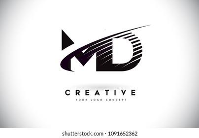 MD M D Letter Logo Design with Swoosh and Black Lines. Modern Creative zebra lines Letters Vector Logo