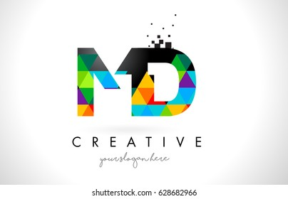 MD M D Letter Logo with Colorful Vivid Triangles Texture Design Vector Illustration.