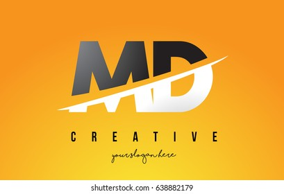 MD M D Letter Modern Logo Design with Swoosh Cutting the Middle Letters and Yellow Background.