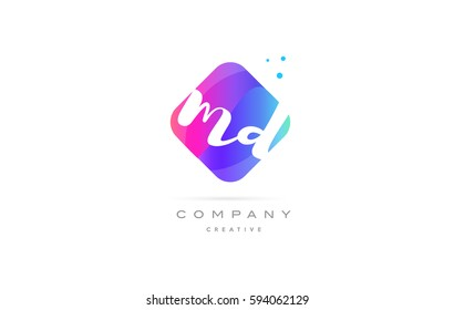 md m d  pink blue rhombus abstract 3d alphabet company letter text logo hand writting written design vector icon template