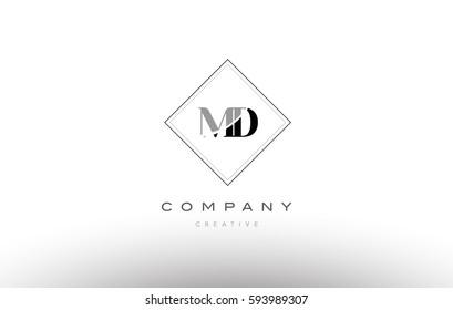 md m d  retro vintage black white alphabet company letter logo line design vector icon template