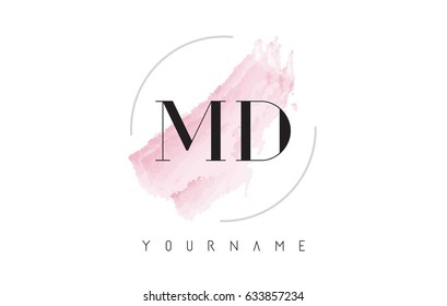MD M D Watercolor Letter Logo Design with Circular Shape and Pastel Pink Brush.