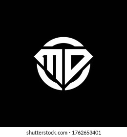 MD monogram logo with diamond shape and ring circle rounded design template