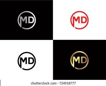 MD text gold black silver modern creative alphabet letter logo design vector icon