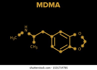 MDMA molecule. chemical structure on black background