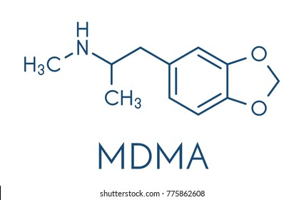 MDMA (XTC, E, ecstasy) party drug molecule. Full chemical name is 3,4-methylenedioxymethamphetamine. Skeletal formula.