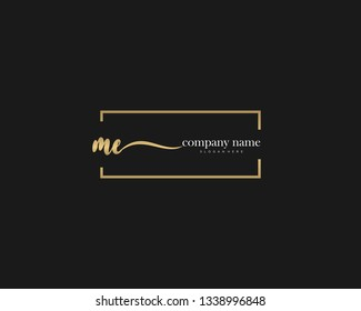 ME Initial handwriting logo vector. Hand lettering for designs.