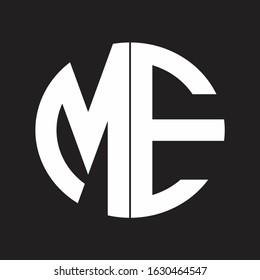 ME Initial Logo design Monogram Isolated on black and white