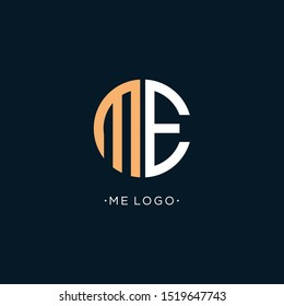 ME Letter Logo Design make from circle and with Sans Serif Font Vector Illustration. - Vector
