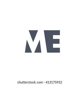 ME Logo. Vector Graphic Branding Letter Element. White Background