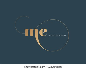 ME monogram logo.Typographic icon with letter m and letter e. Lettering icon. Alphabet initials isolated on dark background.Signature style elegant sign luxury characters and decorative swirl.