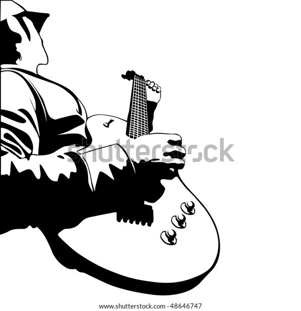 me playing electric guitar vector illustration