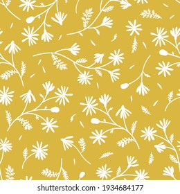 Meadow camomile silhouette seamless vector pattern. Boho botanical floral daisy yellow background. Delicate field flower and petals herbarium illustration.