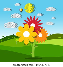 Meadow with Colorful Flowers. Vector Illustration of Summer Field. Natural Rural Scene with Hills.