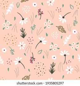 Meadow field flowers. Seamless pattern of abstract doodles of ears of flowers grass. Simple doodle modern design for printing onto fabric, paper, packaging of bakery products, background, cover