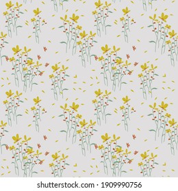 Meadow Floral Seamless Pattern. Ditsy style. A Pattern for fashion, print and wallpaper.