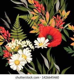 Meadow flowers and leaves vector seamless pattern
