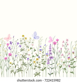 meadow flowers . seamless floral border with butterflies