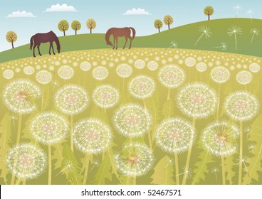 A meadow full of dandelions with two horses.