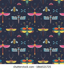 Meadow insects pattern with praying mantis, stick insect, dragonfly, bee and ladybug. Repeating entomology seamless background with winged bugs and beetles for design prints, textiles and fabric.