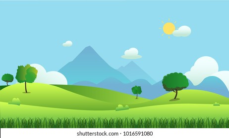 Meadow landscape with grass foreground and mountain background, vector illustration.Green field and sky blue and sun shine with white cloud background.Beautiful nature scene.Summer season.