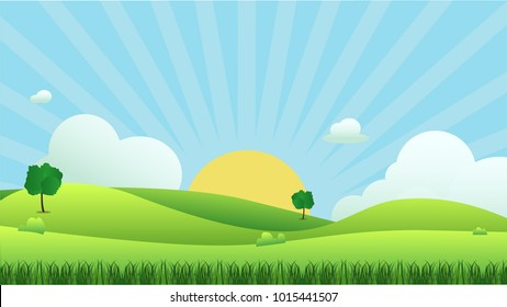 Meadow landscape with grass foreground, vector illustration.Green field and sky blue and sun shine with white cloud background.Beautiful nature scene.