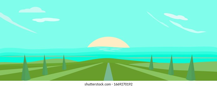 Meadow landscape panorama vector illustration with abstract background pattern