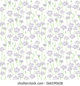 Meadow. Wildflowers pattern. Cute pattern in small flower. Small lilac flowers. White background. The elegant the template for fashion prints