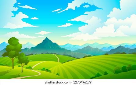 Meadows with mountains. Landscape hill field mountain land sky wild nature grass forest countryside tree. Summer vector land