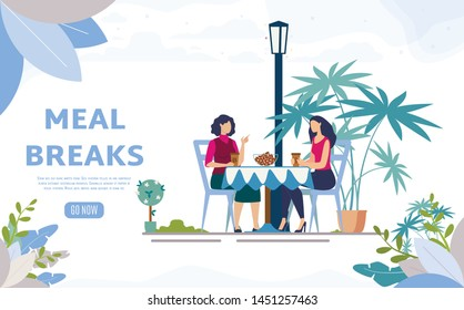 Meal Breaks for Office Workers Flat Vector Web Banner, Landing Page. Female Friends, Colleagues Lunching in Street Cafe, Sitting at Table, Drinking Coffee in Restaurant Outdoor Terrace Illustration