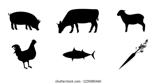 Meal Choice Icons - set of six meal choice option icons. The set includes chicken, beef, pork, vegetarian, fish, and lamb