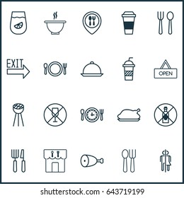 Meal Food Icons Set. Collection Of No Drinking, Fork Knife, Bowl And Other Meal Food Icon Elements. Also Includes Symbols Such As Food Diet, Utensil, Cutlery, Forbidden Eating.