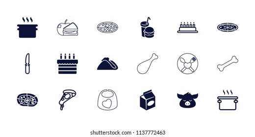 Meal icon. collection of 18 meal filled and outline icons such as pan, pizza, take away food, cake, knife, pig, taco, baby bib. editable meal icons for web and mobile.
