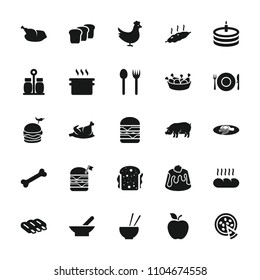 Meal icon. collection of 25 meal filled icons such as bowl, chicken, sausage, pig, fork and spoon, pan, chicken leg. editable meal icons for web and mobile.