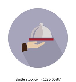 meal icon. Hand of waiter with serving tray. Vector waiter serving illustration