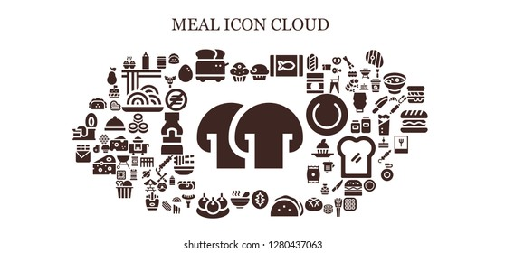 meal icon set. 93 filled meal icons. Simple modern icons about  - Mushroom, Muffin, Sauce, Toaster, Canned food, Sourdough, Taco, Soup, Bitterballen, Chocolate bar, Baby food