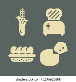 meal icon set with cheese, corn and toster vector illustration