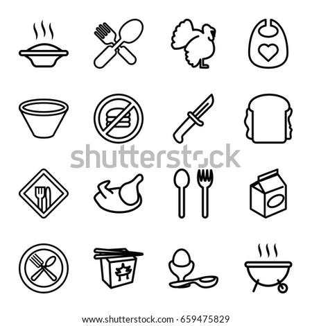 Meal Icons Set Set 16 Meal Stock Vector Royalty Free 659475829