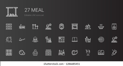 meal icons set. Collection of meal with sorbet, cornucopia, mixed, dinnerware, cupcake, steaks, stove, tandoor, bread, cutlery, churrasco, burger. Editable and scalable meal icons.